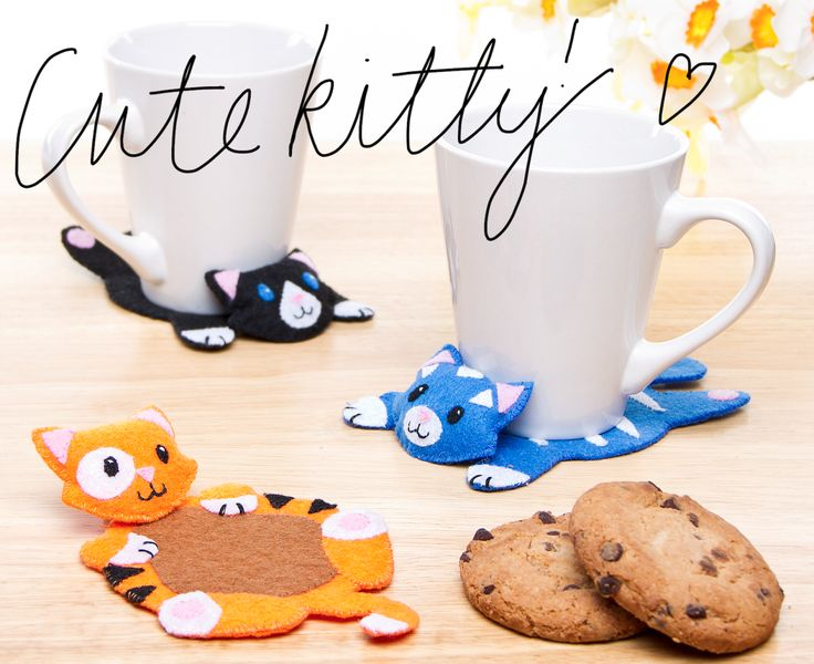 Calling all Cat Lovers! get your cute on today with this Guest Post Cute Kitty Stitched Coasters project!