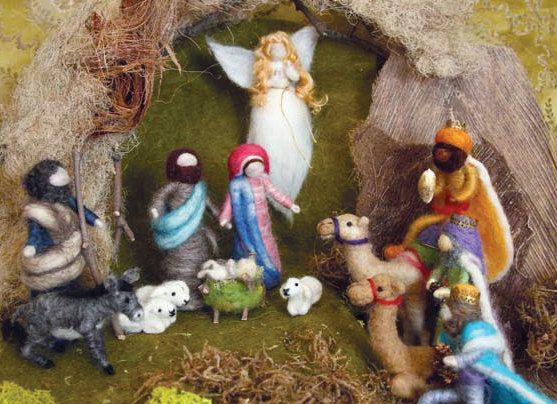 Needle Felted Nativity Set Waldorf inspired Holiday by boridolls