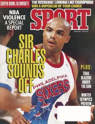 February 1992 SPORT Cover featuring Charles Barkely of the Philadelphia 76ers. Take home a piece of history with a SPORT Magazine cover, available as a fine art stretch canvas or fine art print. Each reproduction is printed on 100% Hahnemuhle Photo Pearl paper using UltraChrome K3 pigmented inks and produced to the highest standard of archival quality available. Canvases are printed and stretched by hand in Toronto. Each print and canvas is done by hand and made to order in Toronto, Canada. Prod