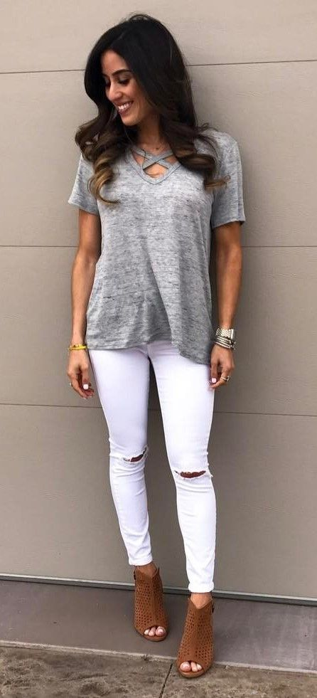 25 best ideas about ripped jeans outfit on pinterest