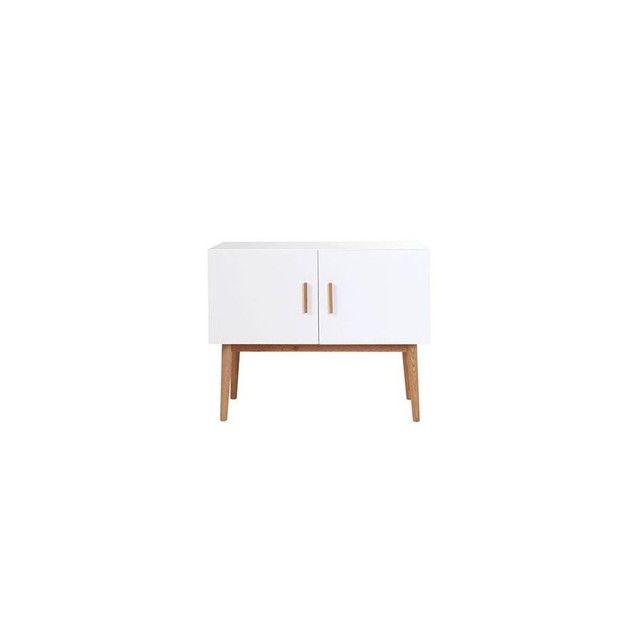 Buffet scandinave bois naturel et blanc 2 portes gilda blanc Miliboo | La Redoute