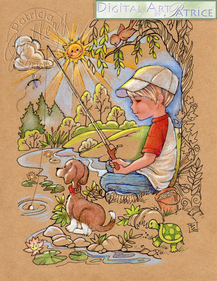 Printable Coloring Book Pages Boy Fishing by DigitalArtbyPatrice