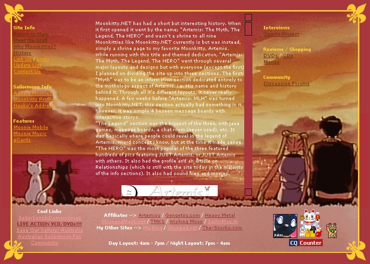Moonkitty.NET Version 6: Day which ran from the 3rd of February 2004 to the 5th of April 2005. Was specially coded to change layout depending on the time of day. This was the daytime layout with an image from the Sailor Moon S movie. Luna and Artemis were also animated which I was very proud of. Definitely my hardest layout to design.