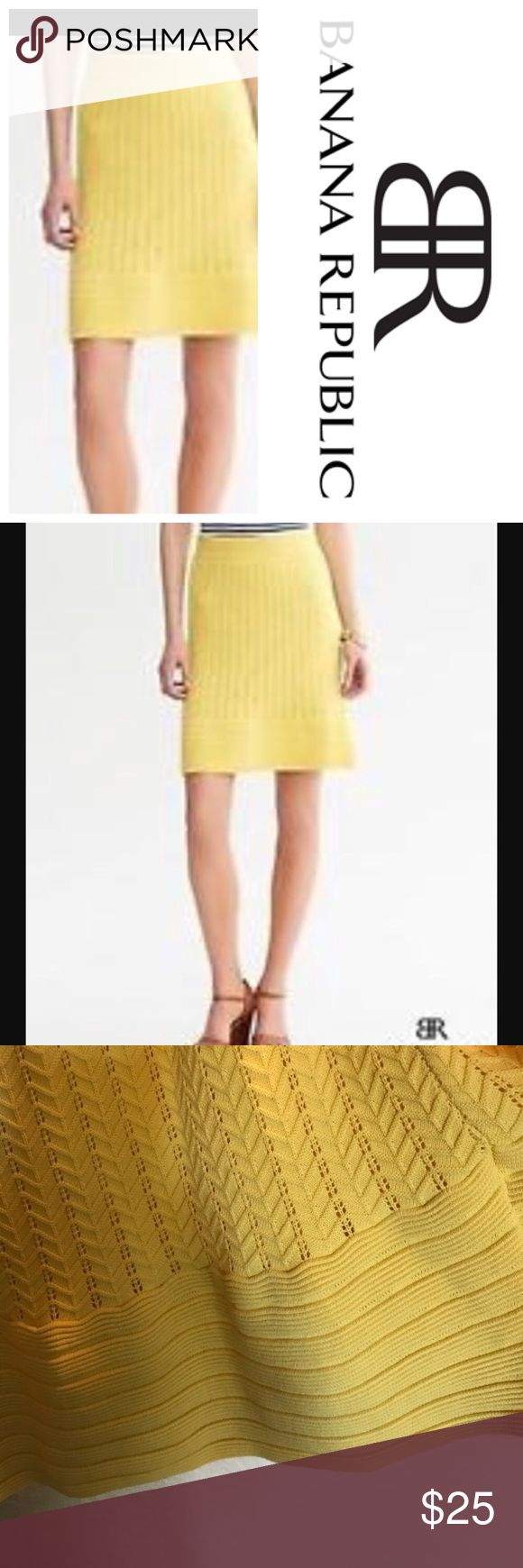 "Banana Republic 🍋 Textured Flare Skirt sz Large Brand: Banana Republic   Size: Large   Color: Yellow 🍋  Style: Monogram Textured Sweater Skirt. Lemon Drop Yellow color with flared hem. Pull on style with elastic waist.   Materials: Viscose & Polyester. Fully lined.   Measurements:  17"" waist unstretched  25"" long.   🍍🍍🍍 EUC. Bundle & Save with my other listings Banana Republic Skirts Midi"