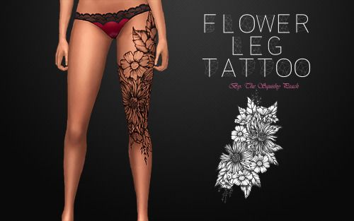 Sims 4 CC's - The Best: Flower Leg Tattoo by The Squishypeach More
