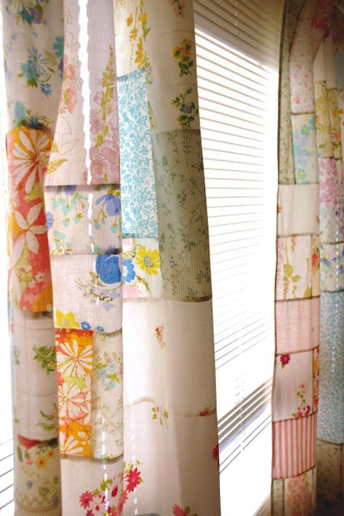 Patchwork curtains made from vintage linensidea for