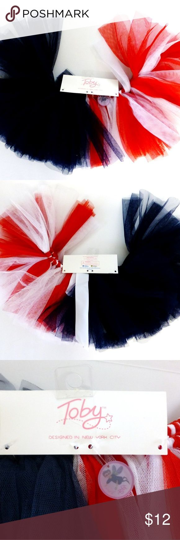 """Baby infant girl red white blue tutu skirt NWT Baby infant girl one size elastic waist tutu. Netting fabric skirt is 6.25"""" long. Hand wash. New on card packaging. Tobey and Co Bottoms Skirts"""