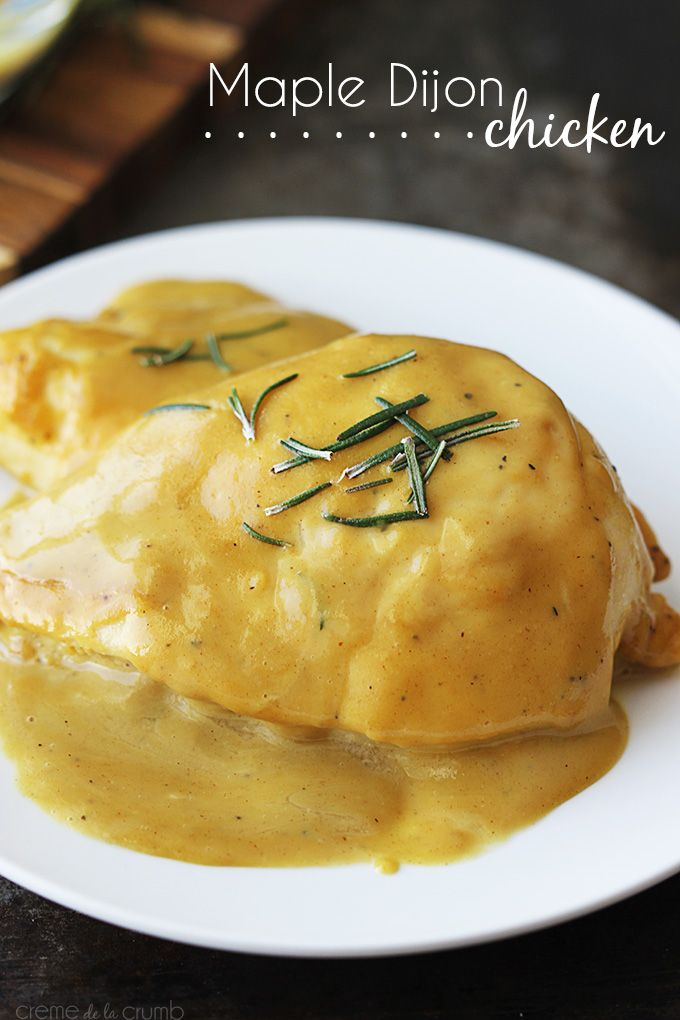 Maple Dijon Chicken Recipe ~ Baked chicken with a rich and creamy maple dijon sauce! Easy, delicious, and done in less than 30 minutes!