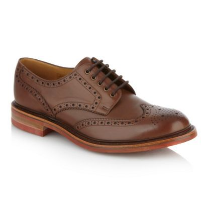 Loake Wide fit brown striped soled brogues- at Debenhams.ie