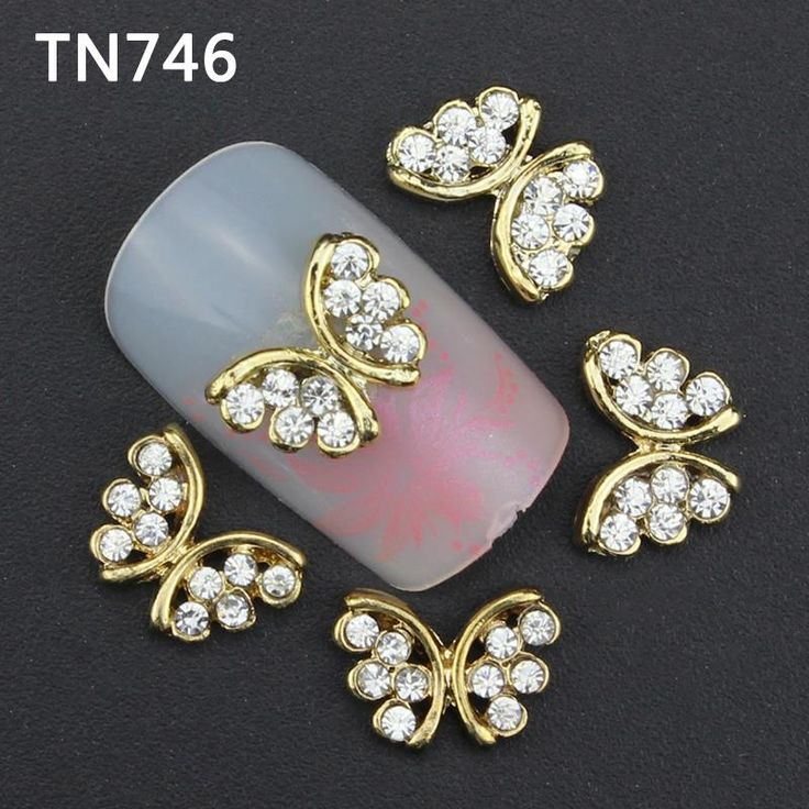 10Pcs Gold Butterfly Nail Tools Clear Rhinestones For Alloy Nails Glitters DIY 3D Nail Art Decorations TN746