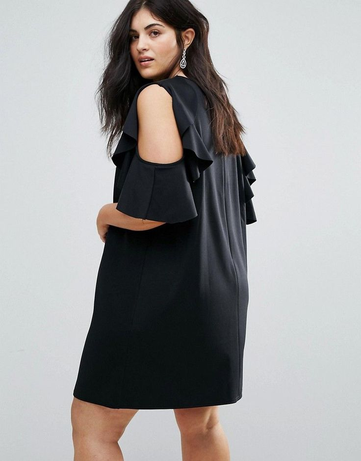 ASOS CURVE Ruffle Shift Dress in Scuba - Black
