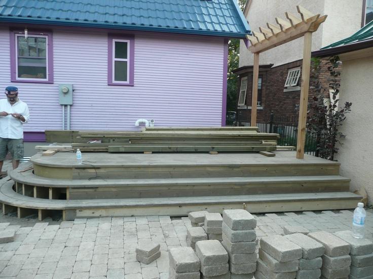 paving around the deck: Decks, Pave, Backyard