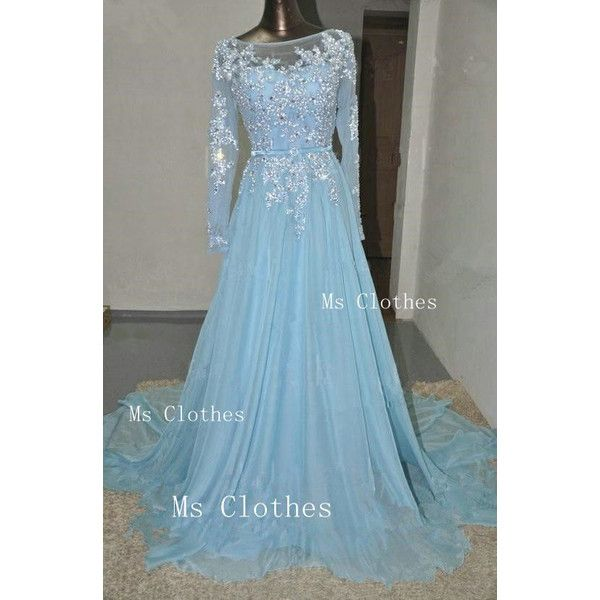 Custom Made Blue Long Sleeve Lace Wedding Dresses, Lace Bridal Dresses, Wedding Gowns, Lace Prom Dresses ($299) found on Polyvore