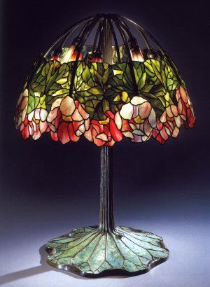 A Highly Important Leaded Glass, Bronze and Mosaic Red Lotus Lamp, Tiffany Studios, ca 1900-1910