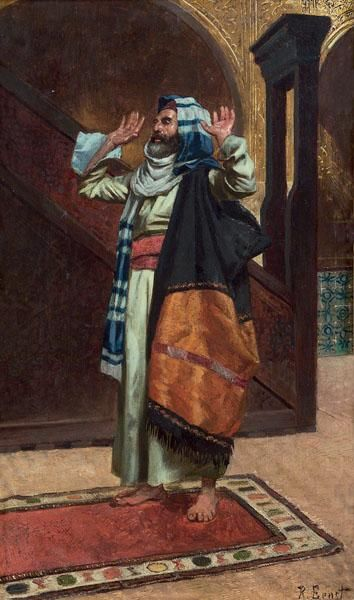 Rudolf Ernst, An Arab Praying, date unknown, Oil on board, 32 x 20 cm, Private Collection