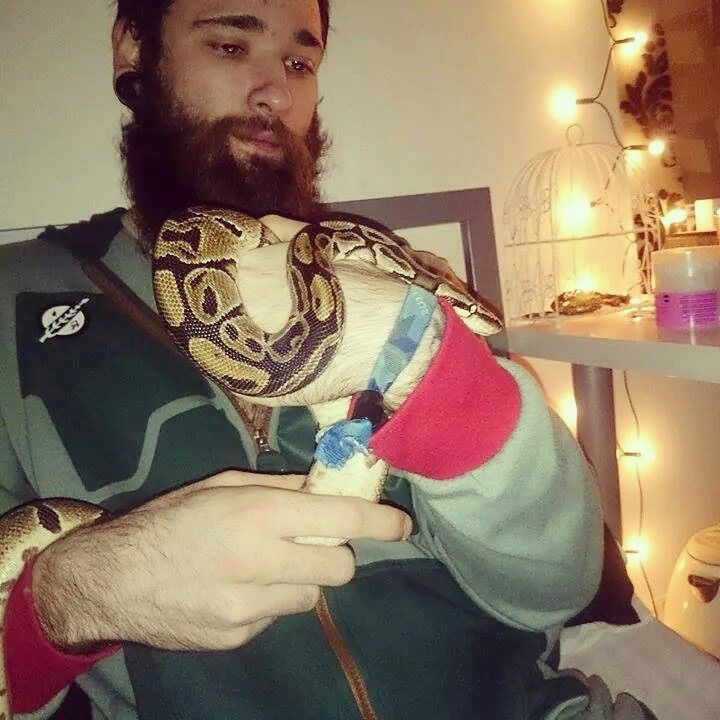 Chilling in my boba fett onsie with boba the ball python