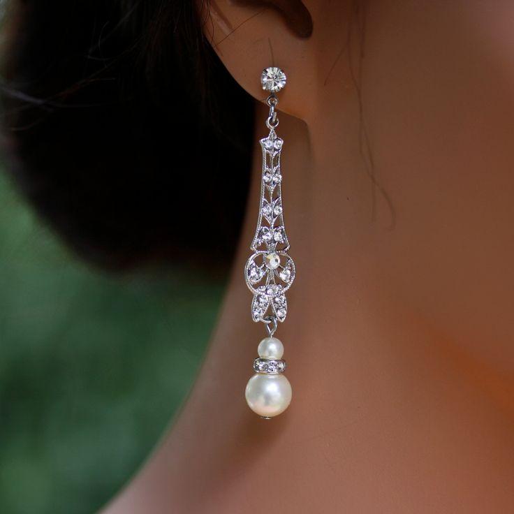 Wedding Jewelry, Bridal Earrings, Long Art Deco Dangle Earrings with Pearl and Rhinestone, vintage wedding earrings. MARCELLA fine.