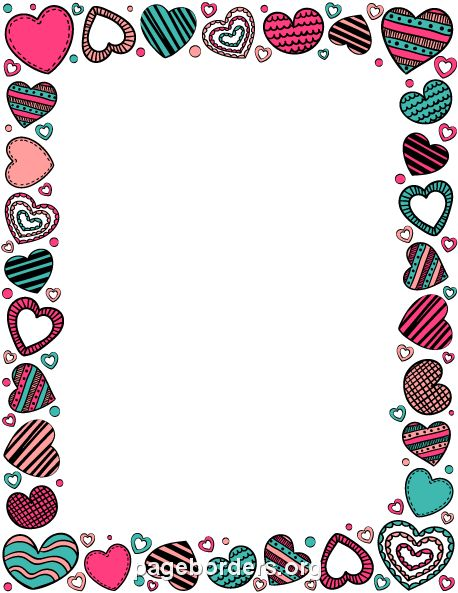 Printable heart doodle border. Use the border in Microsoft Word or other programs for creating flyers, invitations, and other printables. Free GIF, JPG, PDF, and PNG downloads at  http://pageborders.org/download/heart-doodle/