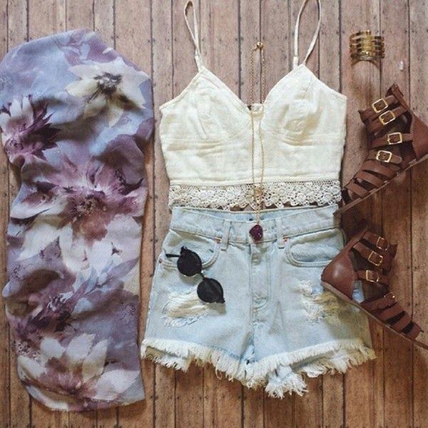 одежда, мило, джинсовые шорты, мода, цветочный принт, девушки, кружево, люблю это, наряды, сандали, обувь, шорты, стиль, лето, хочу, ничего себе