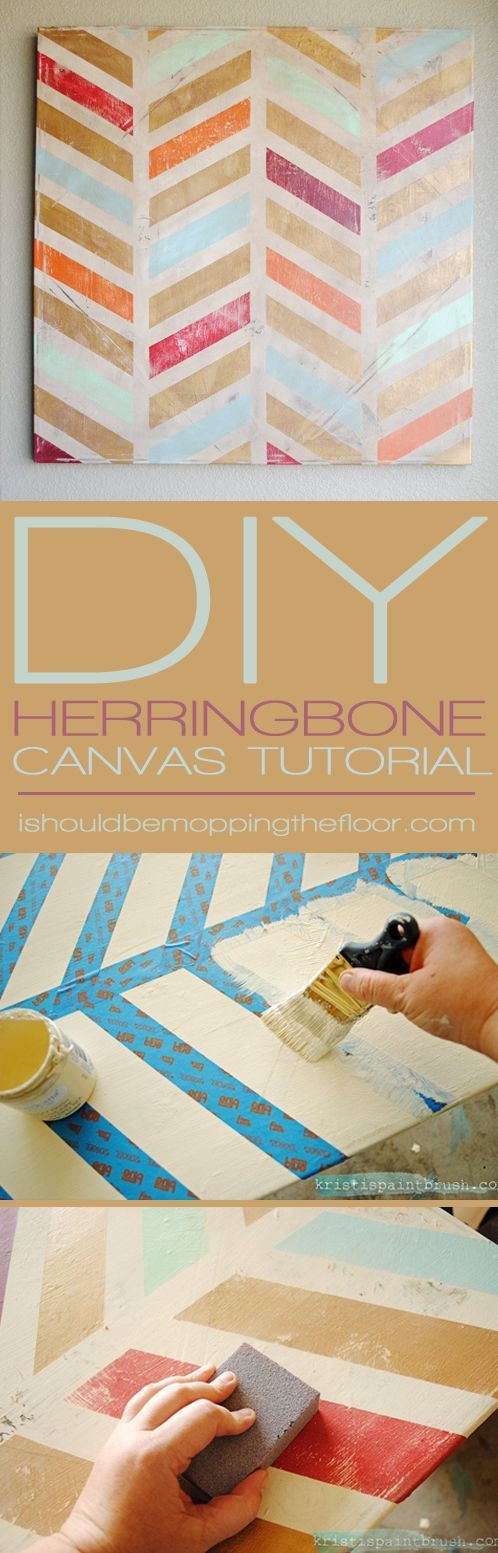 by step instructions to create a fun piece of herringbone canvas art