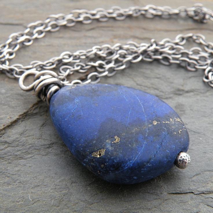 Blue Necklace Lapis Lazuli Indigo Wire Wrapped by CarolBradley, $32.00
