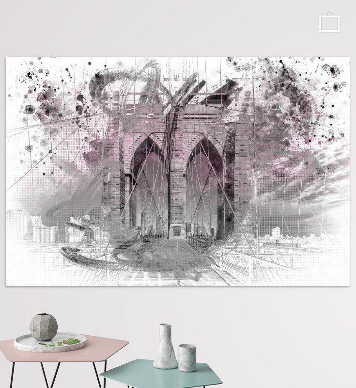 City Art Brooklyn Bridge im Detail    rosa von Melanie Viola  #newyork  #wandbild #modern #shopping #art #wohnen #kunst #typisch #Straßenszene #digitalart #digitalartist #newyorkcity #brooklynbridge