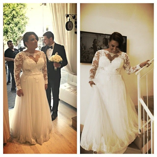 Plus size wedding dresses with long sheer lace sleeves can have a modest or traditional appearance.  This bride managed to make her wedding gown still be relevant and sexy.  You can have us produce custom #plussizeweddingdresses like this for you at a reasonable cost.  Our USA based firm can also make very similar #replicas of couture bridal gowns that are a fraction of the original cost.  Contact us for details and pricing at www.dariuscordell.com
