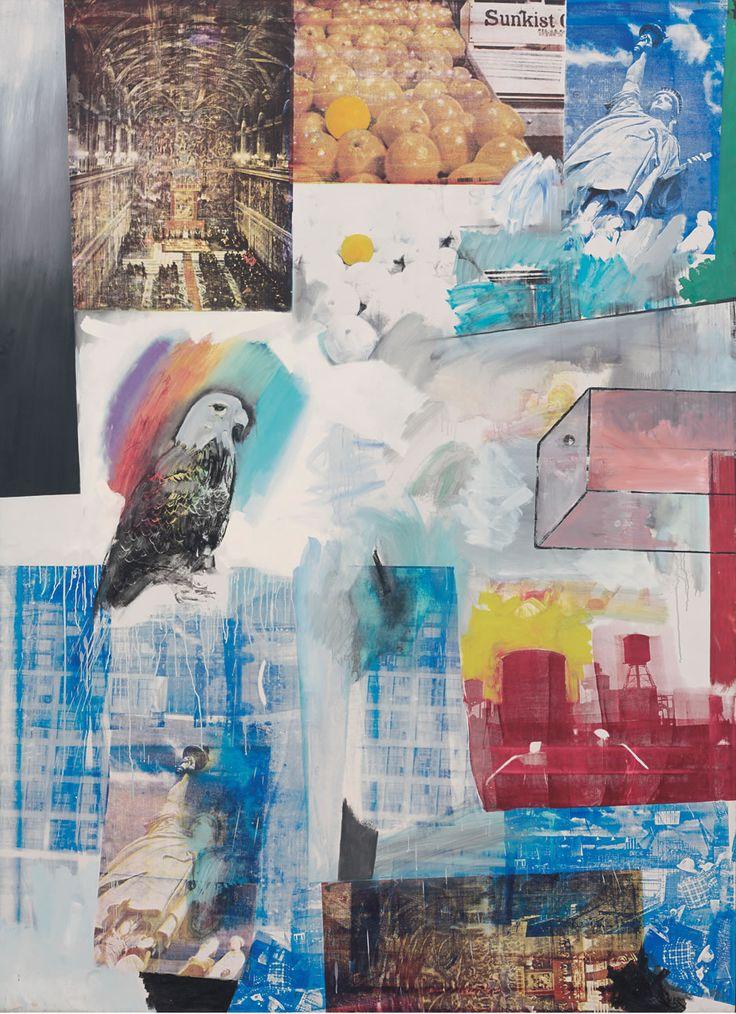 Robert Rauschenberg, Windward, 1963  Oil and silkscreen ink on canvas, 244 x 178 cm. Collection Fondation Beyeler.