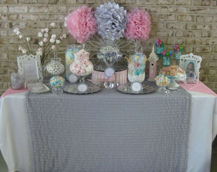Silver, white and pale pink First Communion Party Ideas | Photo 9 of 17 | Catch My Party