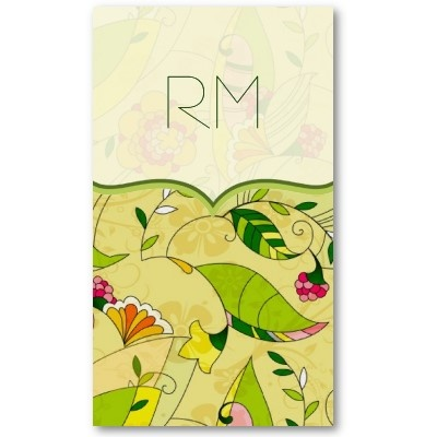 Retro Abstract Floral Pattern Business Card Template