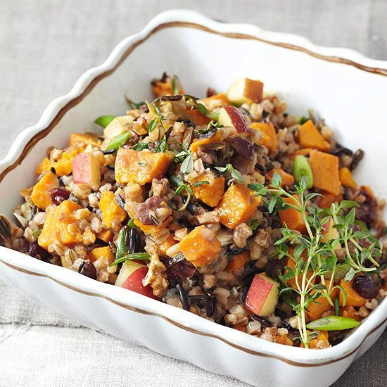 Full of hearty grains like wheat berries, farro, and wild rice, our pilaf-style side-dish casserole has 4 grams of fiber and 5 grams of protein while staying under 200 calories per serving. Dried cranberries and chopped apples give the dish a hint of fresh sweetness.