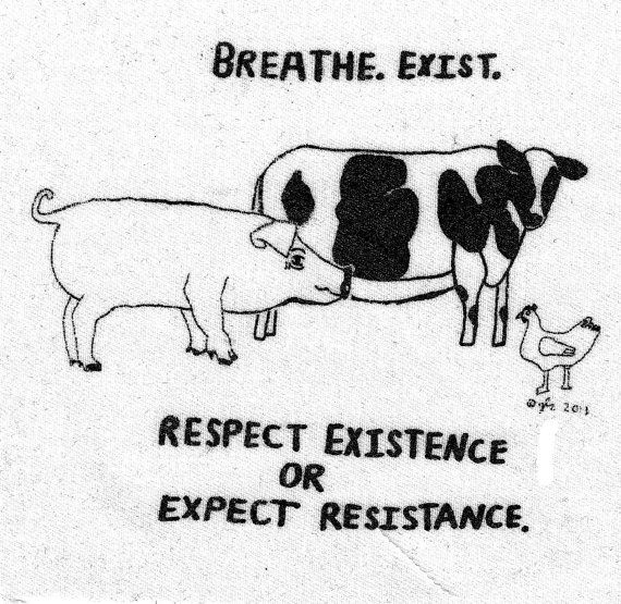 Respect Existence or Expect Resistance.   Vegan Vegetarian Farm Animals Rights XVX DIY Crust Anarcho Punk Small Patch