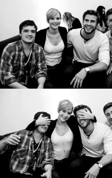 Josh Hutcherson, Jennifer Lawrence and Liam Hemsworth on the press circuit for Hunger Games Catching Fire