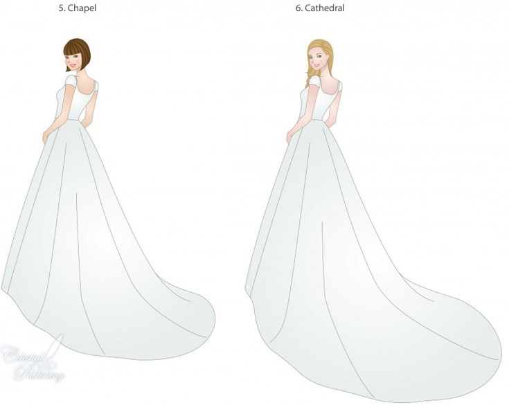 Train types, styles, and lengths, modeled by WeddingLDS.com's signature brides