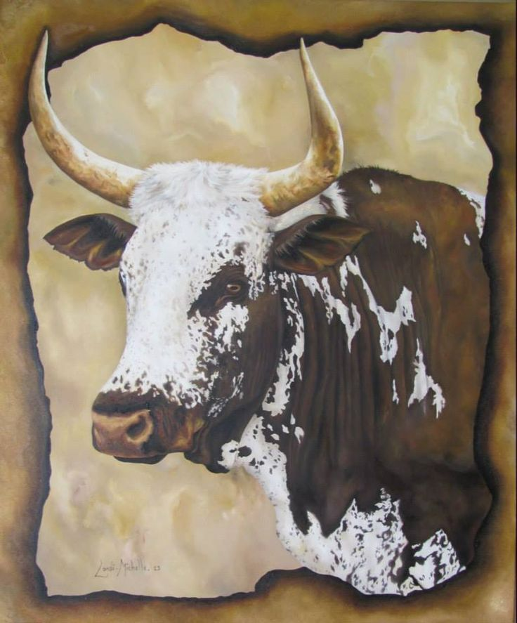 💕 NGUNI BULL IN SEPIA, oil on canvas, 2013 by Landi-Michelle van den Berg