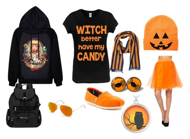 """""""Hallowween mood"""" by virginia-scarberry ❤ liked on Polyvore featuring TOMS, Sherpani, Ray-Ban and Dries Van Noten"""