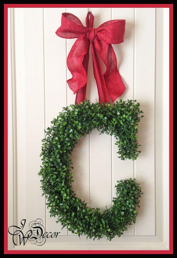 Valentines Wreaths - Door Monogram Wreath - Arificial Boxwood Wreath - Burlap Ribbon - Initial Door Wreath on Etsy, $79.00