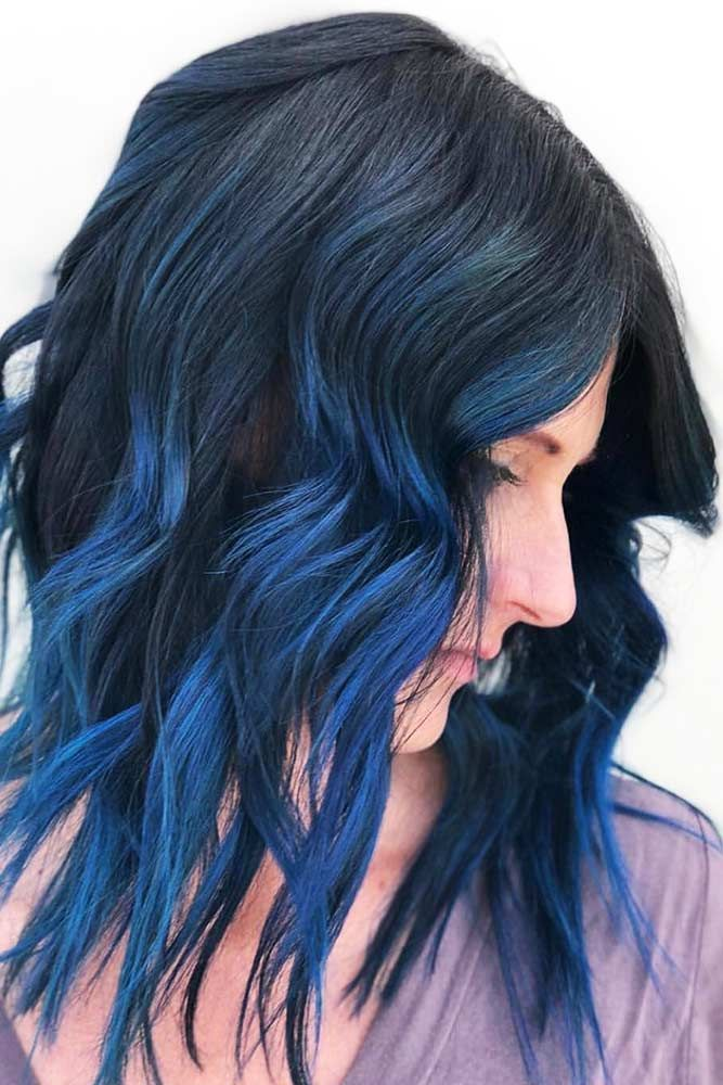 55 Tasteful Blue Black Hair Color Ideas To Try In Any Season Blue Black Hair Color Blue Black Hair Hair Color For Black Hair
