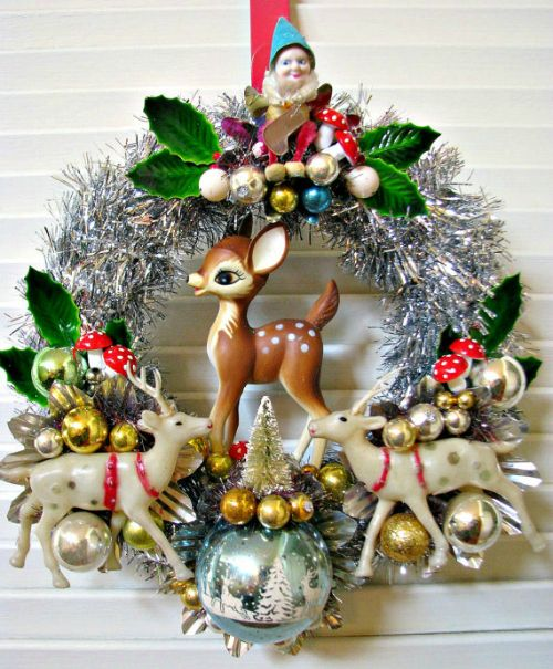 Christmas decorating ideas -  tinsel and baubles and fawn and gnome kitsch christmas wreath