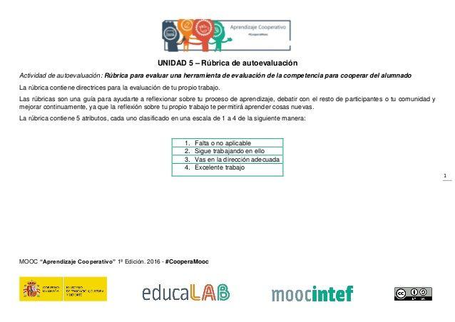 1 UNIDAD 5 – Rúbrica de autoevaluación Actividad de autoevaluación: Rúbrica para evaluar una herramienta de evaluación de ...