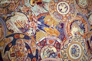 Oriental fabric vintage Imari china - asian - upholstery fabric - portland maine - by Brick House Fabrics
