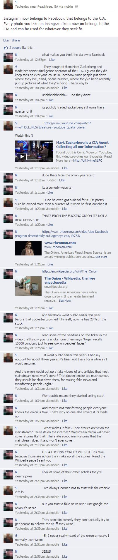 "one person trying to explain to another that ""the onion"" is a fake news outlet on facebook."