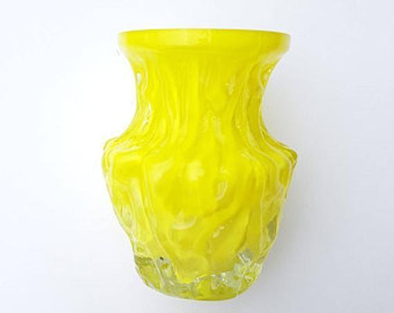 Ig Ingrid Yellow Glass Vase 70s Crystal Bark Texture Ingrid Glashutte Germany Yellow Glass Vase Glass Art Vintage Vases