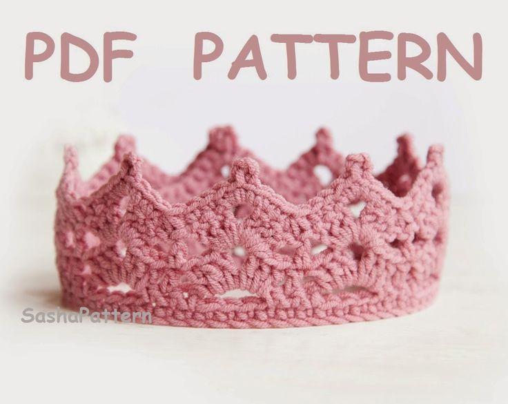 Crochet Baby Crown Pattern, Princess or Prince Crown Baby Tiara in PDF $3.50
