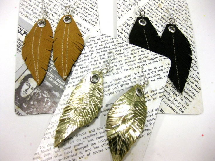 Spiritfire Designs sustainable fashion leather feather earrings