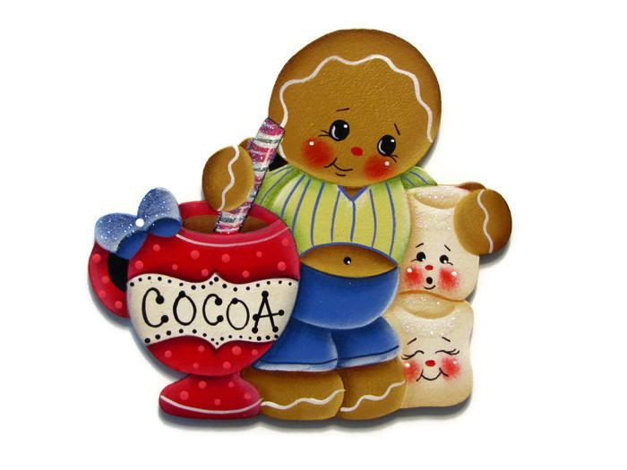Ginger Loves Cocoa Fridge Magnet or Ornament, Handpainted Wood Gingerbread Refrigerator Magnet, Hand Painted, Tole Decorative Painting by ToleTreasures on Etsy