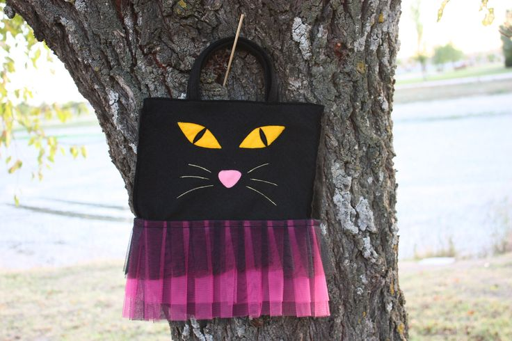 Halloween Cat Bag. Birthday Party  ---  Bolso gato Halloween. Fiesta de Cumpleaños.