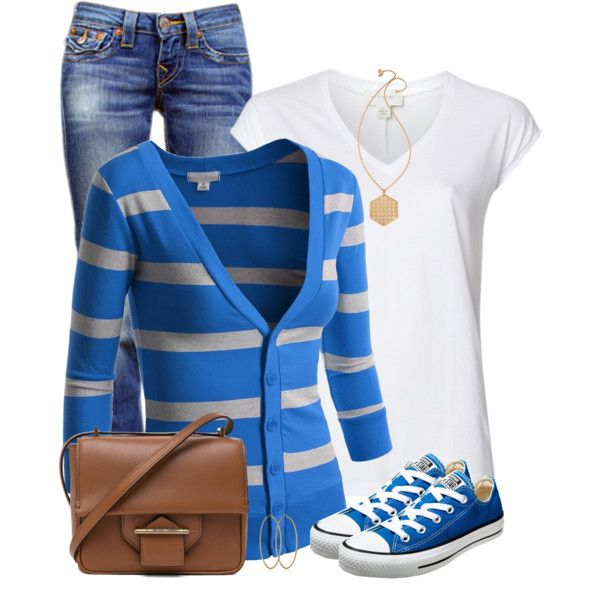 Striped Cardigan & Chucks by daiscat on Polyvore featuring J.TOMSON, Witchery, True Religion, Converse, Reed Krakoff, Tory Burch and Carolina Bucci