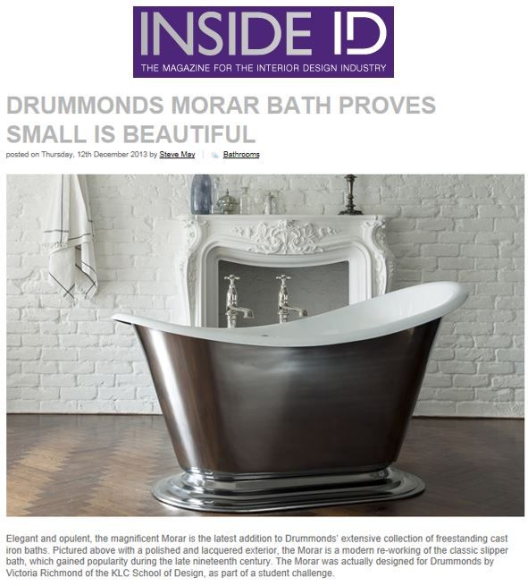 Drummonds introduces the Morar bath, a new twist on the classic slipper bath http://drummonds-uk.com - http://www.insideid.co.uk/news/drummonds-morar-bath-proves-small-is-beautiful.aspx