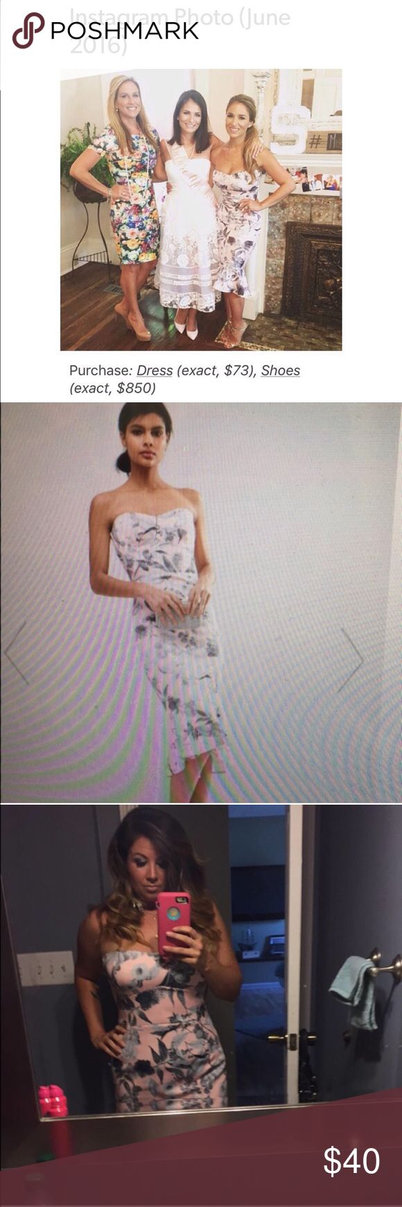 Asos pink floral dress ASO Jessie James Decker 12 Purchased this dress from Asos after I saw JJD wearing it. Size 12 body con fits more like a 10. Pink floral and in great condition. Worn for a wedding for about 2 hours. Asos Dresses Midi